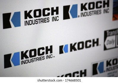 "DECEMBER 2013 - BERLIN: the logo of the brand ""Koch Industries""."