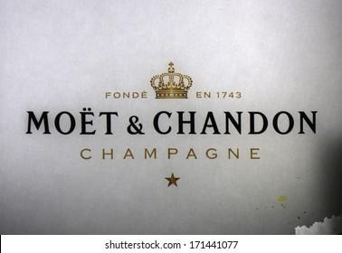 "DECEMBER 2013 - BERLIN: the logo of the champaign brand ""Moet Chandon"", Berlin."