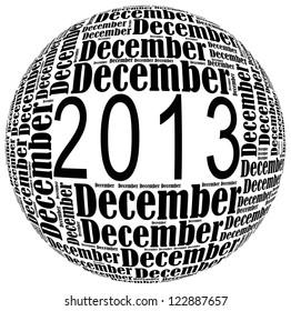 December 2013 info-text graphics arrangement on white background