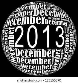 December 2013 info-text graphics arrangement on black background