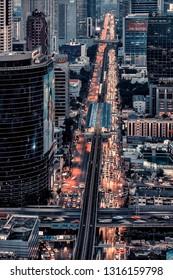 December 2014 - Bangkok, Thailand - Sathorn district in Bangkok viewed from above