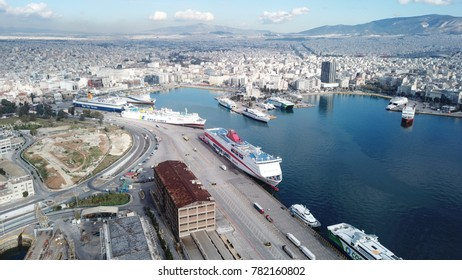 December 2015: Aerial drone, bird's eye photo from famous port of Peiraeus, one of the largest in Europe, Attica, Greece