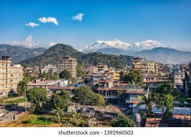 December 2016 - Pokhara, Nepal - Himalaya mountain range viewed from Pokhara city