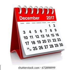 December 2017 Calendar. Isolated on White Background. 3D Illustration