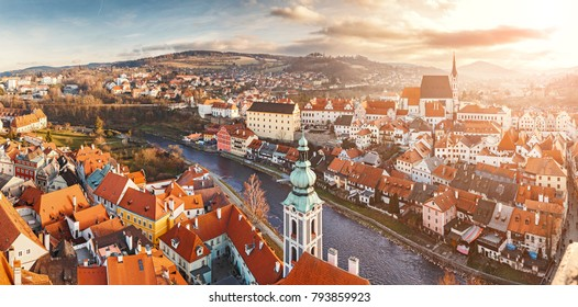 DECEMBER 2017, CESKY KRUMLOV, CZECH REPUBLIC: beautiful aerial panoramic view during sunset from the tower of the houses, castle and church in the medieval European town