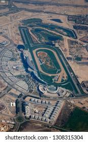 DECEMBER 2017 - DUBAI: aerial image: Meydan Horse Race Track, Downtown Dubai.