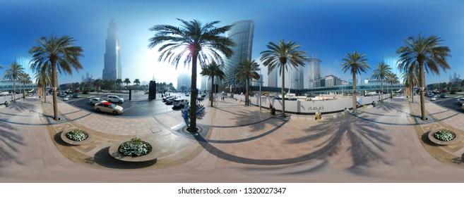 DECEMBER 2017 - DUBAI: Burj Khalifa, palm trees.