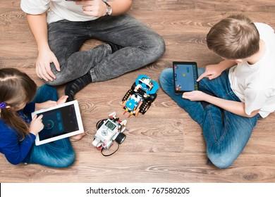 December, 2017. Minsk, Belarus.  STEM education. Lego Boost Robot  VS Lego Mindstorms EV 3. Battle. Robotics class for child and teen. School.  Mathematics.