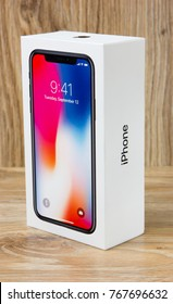 December 2017. New Iphone 10 in the box. A popular smartphone from the company Apple in the box.