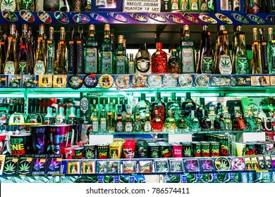 DECEMBER 2017, PRAGUE, CZECH REPUBLIC: Numerous different types of absinthe and other alcohol on sale in a souvenir shop