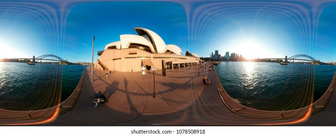 DECEMBER 2017 - SYDNEY: spherical 420 x 180 degree panorama: the Opera House of Sydney, Australia.