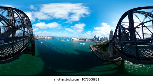 DECEMBER 2017 - SYDNEY: spherical 420 x 180 degree panorama: Harbour Bridge and the Opera House of Sydney, Australia.