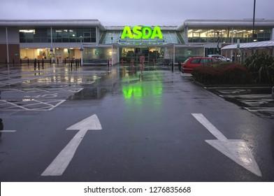 December, 2018. An Asda carpark in Cornwall, UK
