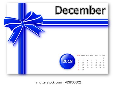 December 2018 - Calendar series with gift ribbon design