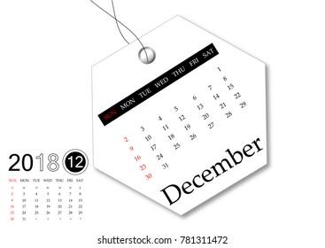 December 2018 - Calendar series for tag design