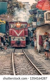 December 2018 - Hanoi, Vietnam - Train street in Hanoi