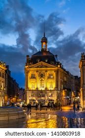 DECEMBER 2018: Place de la Bourse at night in Bordeaux, France