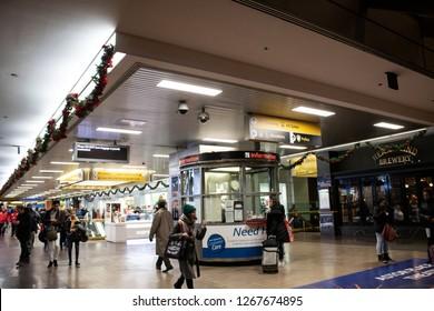 December 22, 2018: Port Authority Bus Terminal, Manhattan, New York, US