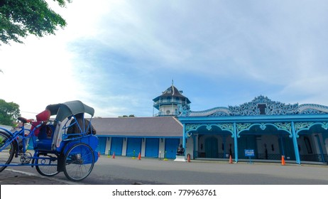 December 23 2017 Solo Indonesia : Panorama Keraton Surakarta with pedicab