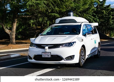 December 23, 2018 Mountain View / CA / USA - Waymo self driving car performing tests on a street near Google's headquarters, Silicon Valley