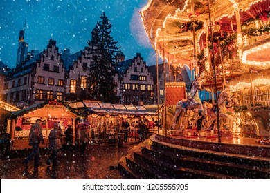 December 24, 2017. Frankfurt, Germany. Christmas market carousel. Beautiful Xmas spirit. Celebrating New Years Eve. Happy New Year.