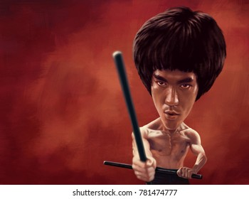 December 25, 2017: Bruce Lee from Enter the Dragon movie scene, Caricature character, Digital painting illustration