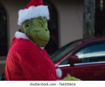 December 25, 2017. Community of Strafford county meet to participate in the Dover annual holidays parade.  The Grinch in Santa Claus costume
