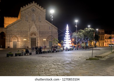 December 25, 2018: Messina Sicily is a month long Christmas lights and decorations display at Messina