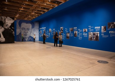 """December 25 2018 - Moscow, Russia: Exhibition """"Viva la Vida"""" (Frida Kahlo and Diego Rivera)  in Centrale Manege. Visitors view biography and photos."""