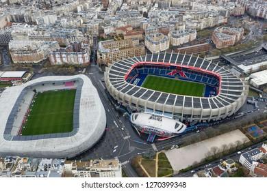 DECEMBER 25, 2018, Paris, France : Aerial View of Le Parc des Princes stadium for soccer team Paris Saint-Germain and Stade Jean Bouin home of the Stade Francais rugby team in Paris, France