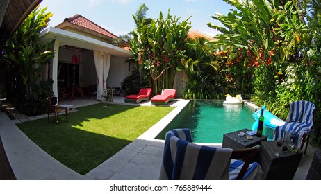 December 26 2017 - Bali, Indonesia, Private luxury villas provide ultimate privacy and comfort in the heart of Bali