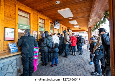 December 26, 2018 South Lake Tahoe / CA / USA - People buying Heavenly Scenic Gondola and Lift Tickets