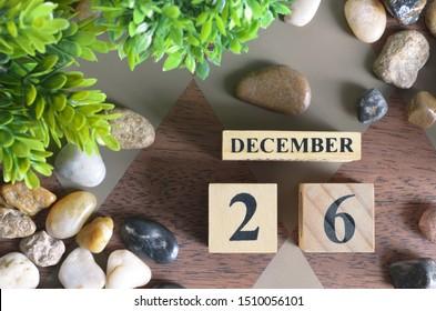 December 26, Number cube design in natural concept.