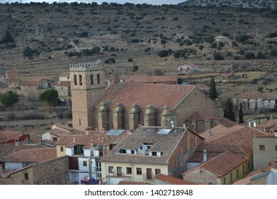 December 27, 2013. Mora De Rubielos. Teruel, Aragon, Spain. Former Collegiate Church of Santa María, Gothic Temple 15th Century. History, Travel, Nature, Landscape, Vacation, Architecture.
