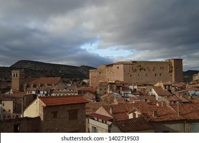 December 27, 2013. Mora De Rubielos. Teruel, Aragon, Spain. Ex-Collegiate Church of Santa María, XV Century Gothic Temple and 12th Century Castle. History, Travel, Nature, Landscape, Vacation, Archite