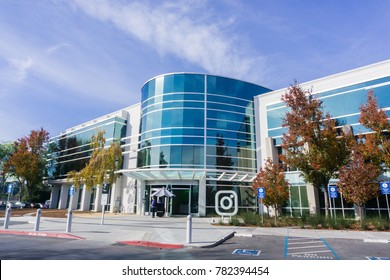 December 27, 2017 Menlo Park / CA / USA - Instagram office building located in Silicon Valley; Instagram is owned by Facebook