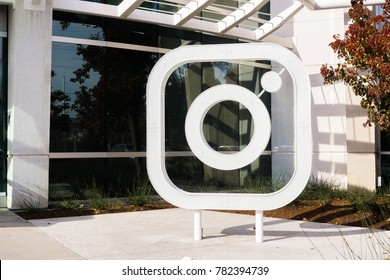 December 27, 2017 Menlo Park / CA / USA - Instagram logo in front of the offices located in Silicon Valley; Instagram is owned by Facebook