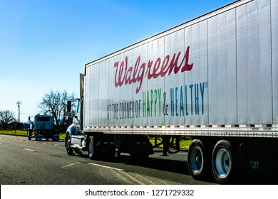 December 27, 2018 Sacramento / CA / USA - Walgreens truck driving on the interstate