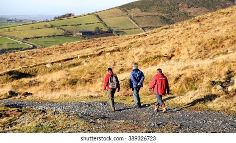 December 28, 2014 - Mourne Mountains, County Down, Northern Ireland.  Hikers coming back down the mountain path.