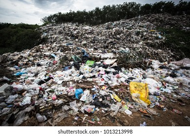 December 29.2017 - Krabi,Thailand. Pile of dump,Pollution from human beings,Overflow of garbage