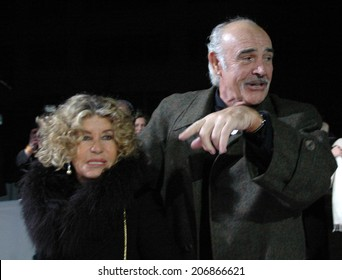 DECEMBER 3, 2005 - BERLIN: Sean Connery with his wife Micheline Roquebrune before the reception to the European Film Award in the Arena in Berlin.