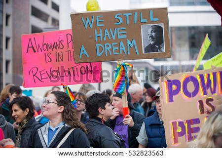 December 3, 2016: Portland Women March Against Hate, downtown, Portland, OR.