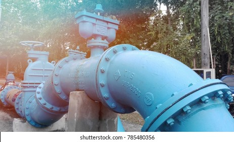 December 3, 2018 at 1 pm in the afternoon with blue water pipes. The large pumping and delivery of water to homes in Chiang Mai, Thailand.