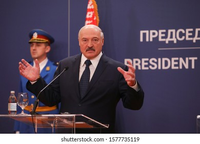 December, 3. 2019. - Belgrade, Serbia. President of Belarus Alexander Lukashenko review Serbian's honor guard during an official ceremony of meeting
