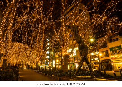 December 30, 2017. The annual light illumination named Sendai Pageant of Starlight, more than thousand of lamps was decorated on the avenue located in downtown of Sendai, Miyagi prefecture, Japan.