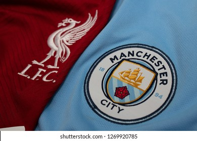 DECEMBER 30:  The Logo of   Liverpool and Manchester City on the Jerseys on December 30,2018. Both of them will face each other on EPL this weekend