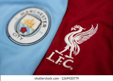 DECEMBER 30:  The Logo of    Manchester City and Liverpool on the Jerseys on December 30,2018. Both of them will face each other on EPL this weekend