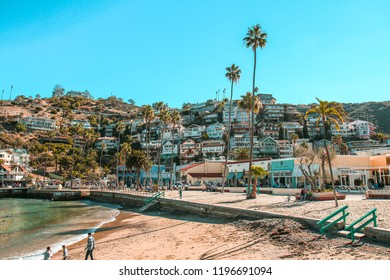 December 30th, 2015. Catalina Island, California. Houses on the hills along the waterfront in Catalina Island.