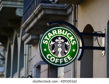 "DECEMBER 31, 2014 - BARCELONA: The logo of the brand ""Starbucks coffee"""