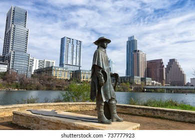 December 31, 2015 Austin, Texas, USA:  bronze sculpture of Stevie Ray Vaughan by Ralph Helmic with the downtown in the background